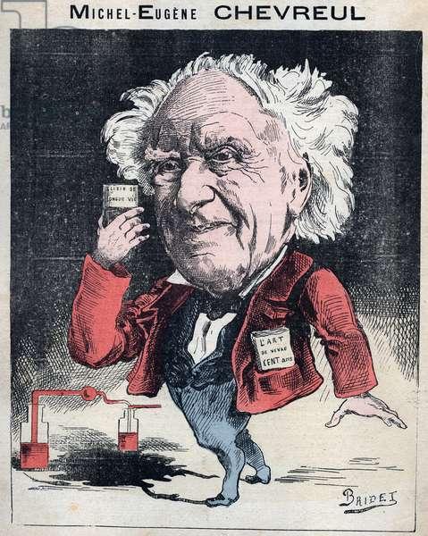 "Portrait of Michel Eugene (Michel-Eugene) Chevreul (1786-1889), French chemist - Caricature by Bridet in ""Les Hommes d'Today"""", Paris, 1878 - private collection"