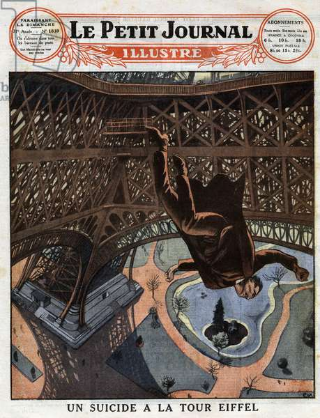 """a suicide at the Eiffel Tower: a Russian chambermaid who became neurasthenic jumps from the first floor of the Eiffel Tower in Paris and died on March 7, 1926. Engraving in """""""" Le Pepetit Journal illustrious"""""""" on 21/03/1926. Private collection."""