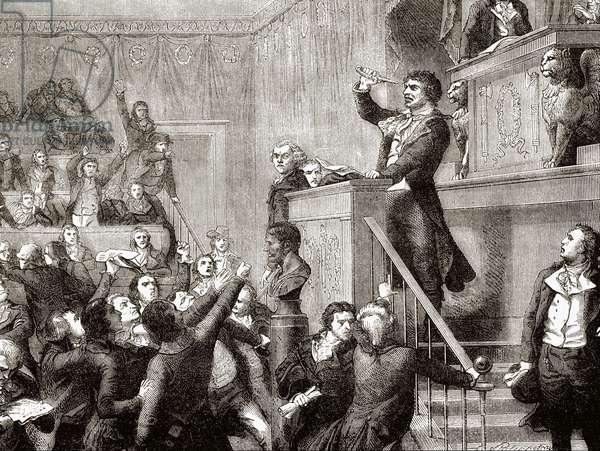 "Convention of 21 September 1792: Jean Paul Marat à la tribune - grav. in """" Histoire de France"""" by Hennri Martin, 19th century"