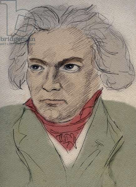 Portrait of Ludwig van Beethoven (1770-1827) German composer - anonymous drawing from the beginning of the 20th century - Private collection -