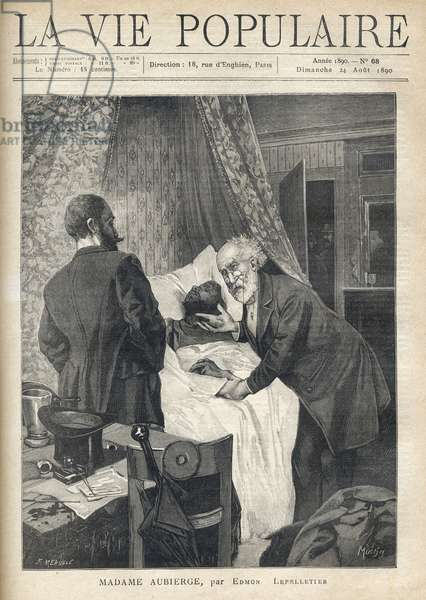 """Two men lean over a bed to see a man's death. At the door, other men are watching the scene. Illustration by Alfons Maria Mucha (Alphonse Marie Mucha, 1860-1939), for Madame Aubierge by Edmon Lepelletier (1846-1913). Engraving by Fortune Meaulle (1844-1901), 1890 in """""""" La vie populaire"""""""". Private Collection"""