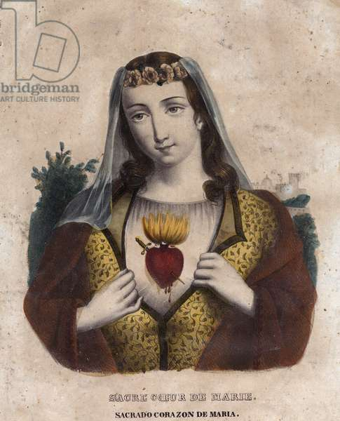 Immaculate Heart of Mary - Religious image of the Sacred Heart of Mary - engraving of the 19th century - Sagrado corazon by Maria - Inmaculado Corazon by Maria -
