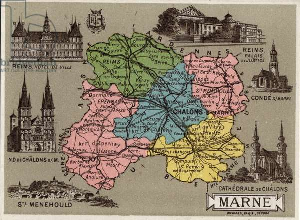 """La Marne (51) in Champagne Ardenne (Champagne-Ardenne), France. Palais de Justice and City Hall of Reims, Conde Sur Marne, Chalons sur marne, Sainte Menehould. Good geographic points. Chromolithography series """"La France, les departements illustres"""""""", H. Lemonnier and Fr. Schrader, ca. 1910. Private Collection"""