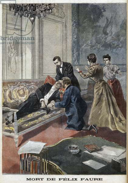 The Death of Felix Faure (1841-99) from 'Le Petro Journal', 26th February 1899 - Death of Felix Faure President of the French Republic in the salons of the Elysee in 1899.