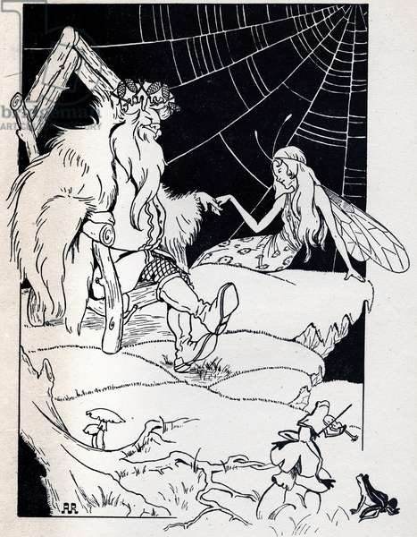 """Illustration by Angela Resignani for the new """"The Garden of the Magician"""""""" in """"The Snow Queen, Tale in Seven Stories"""" in """"Meravigliosi racconti"""" (The Fantastic News) by Hans Christian ANDERSEN (1805-1875), Danish novelist and poet, famous for his Fee Tales. 1945. Private collection. DR"""