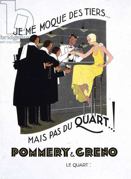 Advertising for the quarter of champagne Pommery & Greno, deb. 20th century