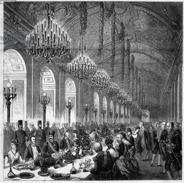 Nasir Al-Din (Nasser al-Din) (1831-1896) Shah from Persia to Versailles. Banquet in the ice gallery. to his left Albert, Duke of Broglie (1821-1901).