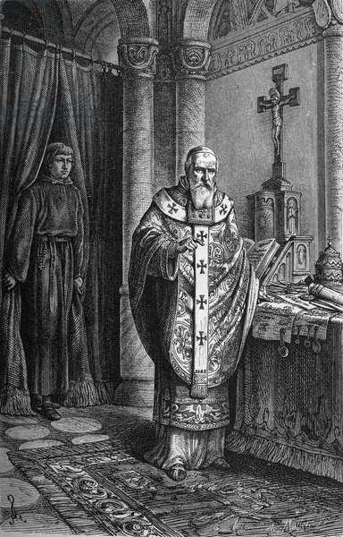 "Pope Clement IV (Gui Foucois or Coots or Foucault, late 12th century-1268). Engraving in """" Kaiser, Konig und Papft"""" by Richard Roth, 1895."