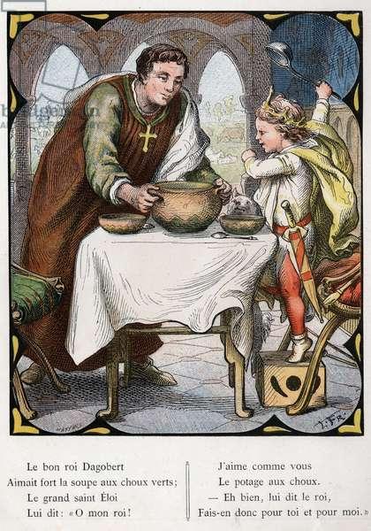 "Illustration by Lorenz Frolich (1820-1908) for the popular song ""The Good King Dagobert"""". Edition J. Hetzel.Around 1880."