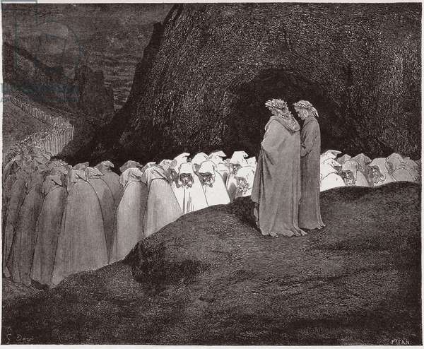 The Divine Comedy (La Divina Commedia, La Divine Comedie), Inferno, Canto 23: The hypocrites address Dante - by Dante Alighieri (1265-1321) - Illustration by Gustave Dore (1832-1883), 1885