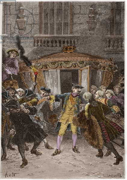 """The attack of Damiens (January 1757) - (Robert-Francois Damier, 1715-1757) - Pierre Robert Francois Damiens, a manservant, attacks Louis XV at Versailles. The king is only slightly injured, but Damiens is executed with hideous severity. 5 January 1757 - engraving from """""""" L'histoire de France racontee a mes grandenfants"""""""" - by Francois Guizot - 1872-1876"""