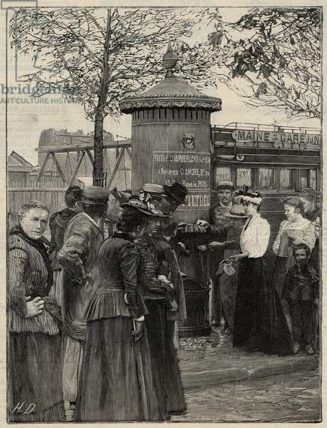 "Public hygiene: inhabitants of Paris using one of the filtree water fountains installed in the 15th arrondissement. These fountains have a Chamberland Pasteur system filter. Engraving in ""Le monde illustree"""" of 1892. Private collection."