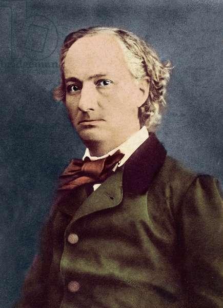 Portrait of Charles Baudelaire (Paris, 1821 - Paris, 1867), French poet and writer - Photo Felix Nadar (1820-1910) photo coloured