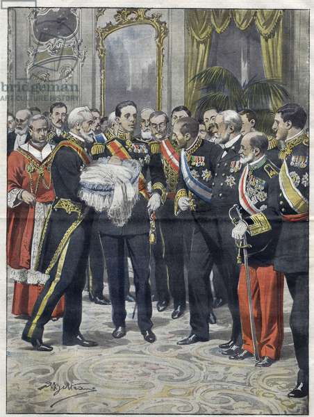Alfonso XIII (1886-1941), King of Spain at the ceremony of the presentation of his son Alfonso (1907-1938), Count of Covadonga, Prince of Asturias. Drawing by Achille Beltrame. from 1907.