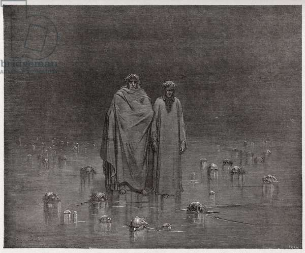 Inferno, Canto 32 : The traitors frozen in the ice of Cocytus (Cocyte), illustration from 'The Divine Comedy' by Dante Alighieri, 1885 (engraving)