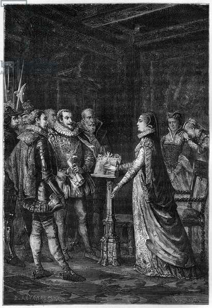 """MARY STUART (1542-1587) Queen of Scots. Mary Stuart swearing that she has never plotted to take the life of Queen Elizabeth I of England - engraving from """"L'Histoire d'Angleterre, depuis les temps les plus recules"""" by Francois Guizot 1877."""