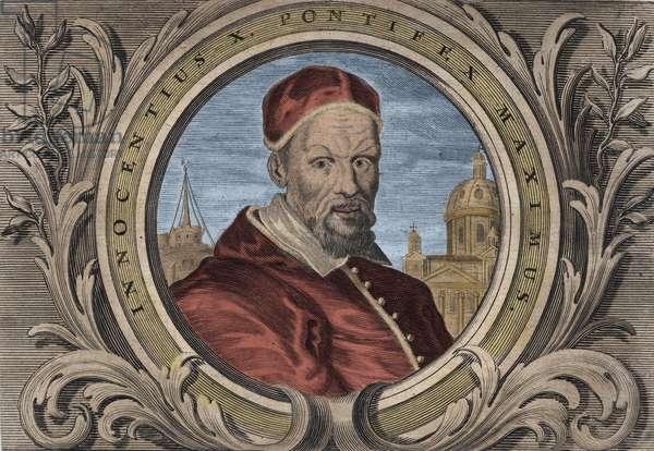 Portrait of Pope Innocent X (Innocenzo, Innocentius or Giovanni Battista Pamphili) (1644-1655). engraving