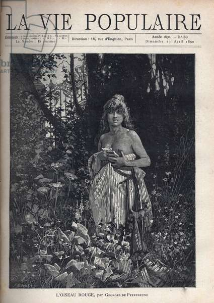"""A naked young woman, standing and decoiffee, covering her body with a blanket, surrounded by vegetation and trees that mask a wrought iron grid. Illustration by Alfons Maria Mucha (Alphonse Marie Mucha, 1860-1939), for L'oiseau rouge by Georges de Peyrebrune (1841-1917). Engraving in """"La vie populaire"""""""", 1890. Private Collection"""