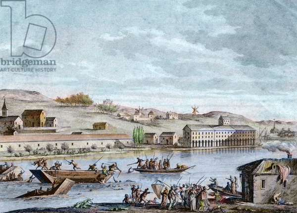 The Nantes Drowning, Reign of Terror, 1793 (colour litho)