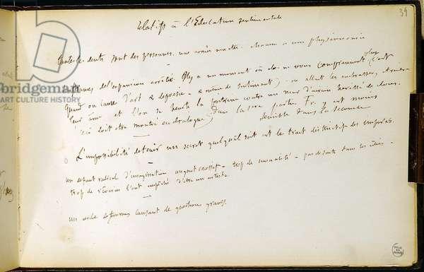 Folio 39 of the workbook n. 19 Manuscript page of Gustave Flaubert's drafts. Plans for sentimental education. BHVP.