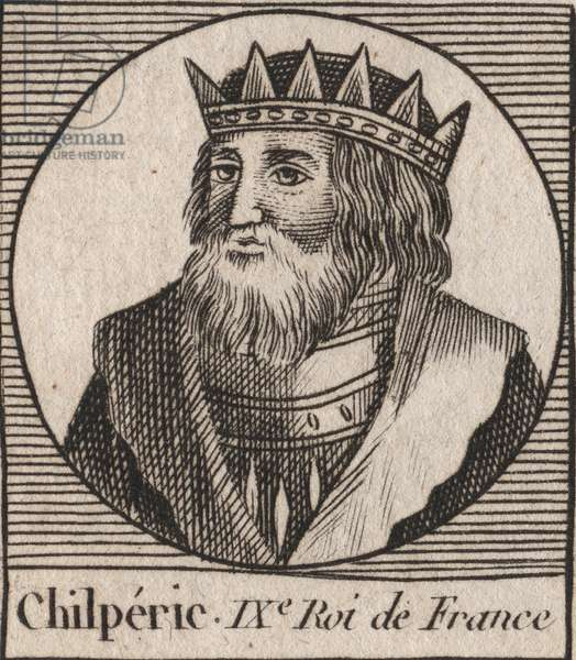 """Portrait of Chilperic I (539 - 584), King of Neustria - Chilperic I, Merovingian King of France - engraving from """"Instruction sur l'Histoire de France"""""""" by Charles Constant Le Tellier 1821"""