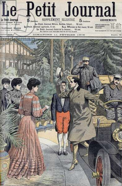 Interview with King Alfonso XIII of Spain and his fiancée in Biarritz, couv. Le Pepetit journal, 11/2/1906.
