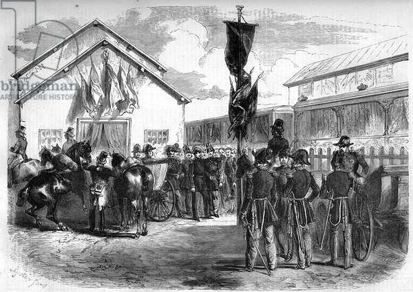 """Camp militaire de Chalons, 13 September 1857: inauguration of the railway connecting to the station of Le PetitMourmelon in the Marne (51). From Armand Dumaresq's drawing. Engraving in """""""" Le Monde Illustré"""""""" n°24 of 26 September 1857."""
