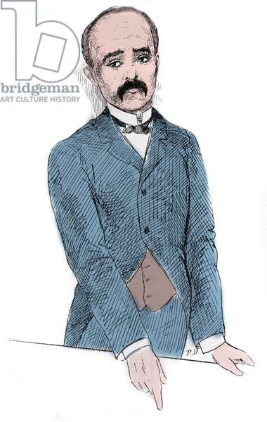 """Portrait of Georges Benjamin Clemenceau (1841-1929) French politician during the discussions on the question of Tonkin and France. Engraving in """""""" Le Monde Illustré"""""""", 1884. Private Collection"""