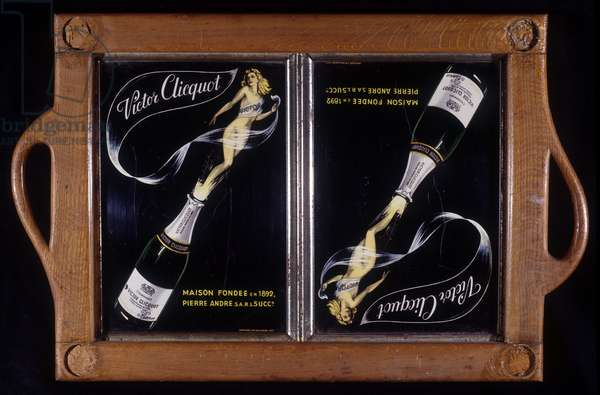 """Advertising of champagne """"Victor Cliquot"""""""", house founded in 1892."""