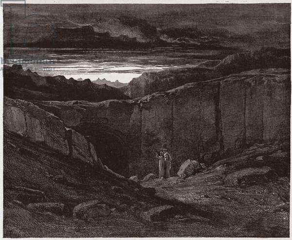 The Divine Comedy (La Divina Commedia, La Divine Comedie), Inferno, Canto 3: Virgil and Dante at the gates of Hell - by Dante Alighieri (1265-1321) - Illustration by Gustave Dore (1832-1883), 1885