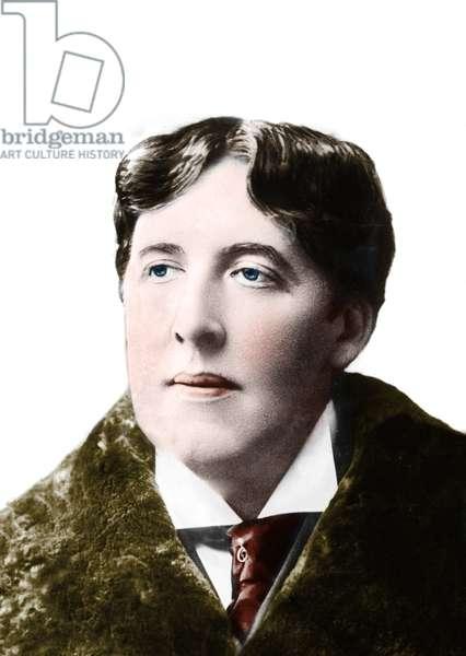 portrait of the writer Oscar Wilde around 1900. 19th century photograph