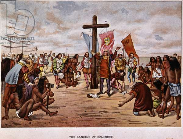 The Debarkment of Christopher Columbus in San Salvador (Bahamas) on 12/10/1492 - Engraving of the 19th century