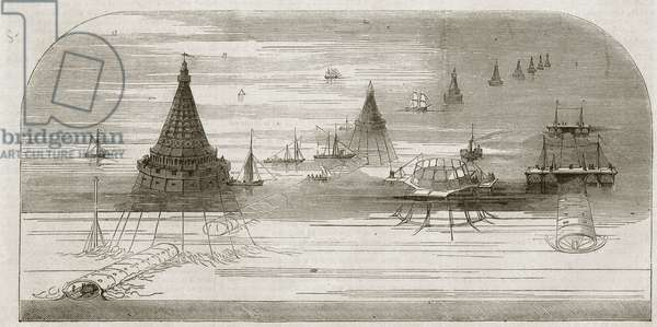 Channel Tunnel, 1857 - Underwater railway project between France and England based on the project of Hector Horeau - Underwater railway project between France and England after the project by Hector Horeau (1801-1872)
