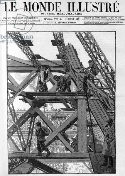 "The works of the Eiffel Tower for the world exhibition of 1889, the workers are fifty meters above the ground. In ""The Illustrious World"" of 1888."
