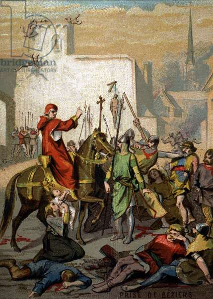 """War of the Albigeese - Capture of Beziers """""""" Kill everything, God will recognize his"""""""" (Innocent III, 1209). Chromolithography of the Series """""""" Patriotic Education through Image""""""""."""