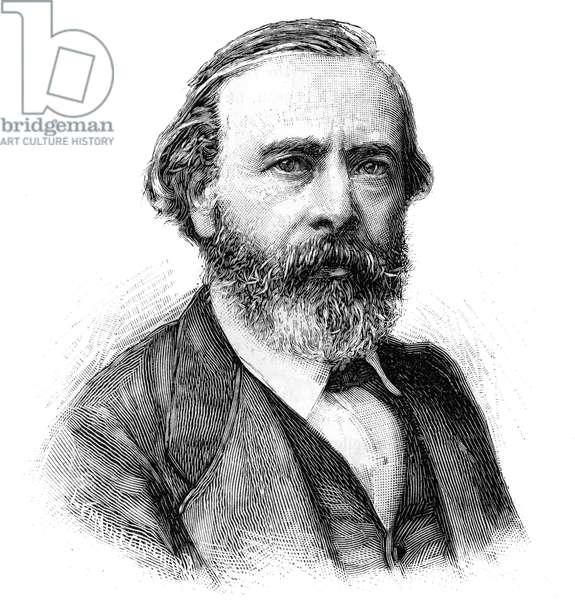 """Portrait of Pierre Edouard (Pierre-Edouard) Frere (1819-1886), French painter. Engraving in """""""" Le Monde Illustré"""""""", June 5, 1886."""