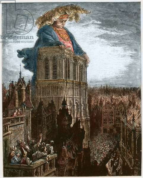 Gargantua on the towers of Notre-Dame at Paris - Gargantua resting on the towers of the Church of Notre-Dame at Paris - illustration from 'Gargantua and Pantagruel', by Francois Rabelais - engraving by Gustave Dore (1832-1883)