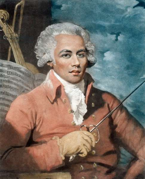 Joseph Boulogne (1748-99), Chevalier de Saint-George; son of a French plantation owner in Guadeloupe and a slave, Nanon, of African origin - Portrait of Joseph Boulogne (1748-1799), Chevalier de Saint Georges (Saint-Georges), composer of Guadeloupe origin. Engraving by Mather Brown, (1761-1831).
