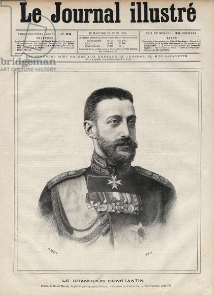 """Portrait of the Grand Duke Constantine Nikolaievich of Russia (Grand Duke Constantine Nikolaevich of Russia or Konstantin Nikolaievich Romanov, 1827-1892) - Engraving by Navellier in """"The Illustrous Journal"""" of 1892"""