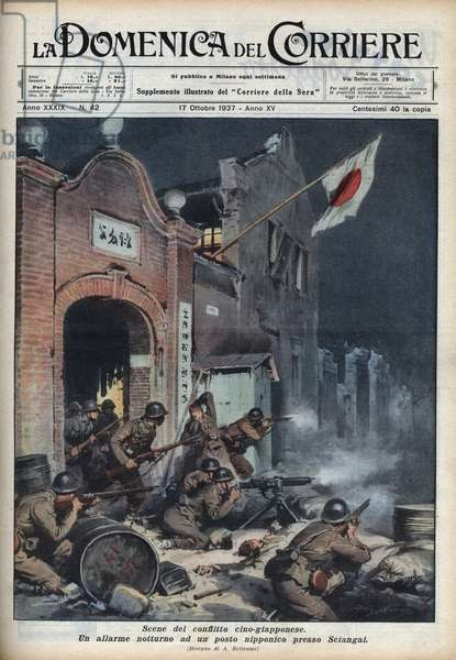 "Second Sino-Japanese War (1937-1945): clashes near Shanghai. Illustration by Achille Beltrame from ""La domenica del corriere"""" of 17/10/1937."