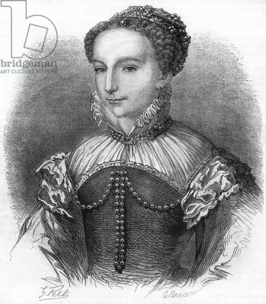 Portrait of Catherine de Medicis (Caterina de Medici) (1519-1589) wife of Henry II King of France. 19th century engraving.