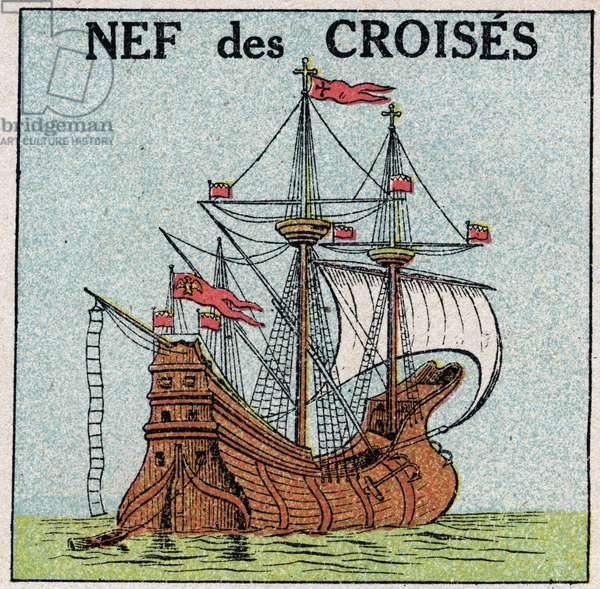 """Ships and ships: the royal nave """"Montjoie"""" of King Saint Louis (1214-1270) during the Crusades. Anonymous illustration from 1925. Private collection."""