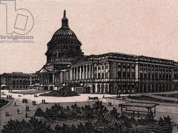 """Washington, United States: view of the Capitol. in """"The World Illustrates 168 Views"""" Undated (late 19th century)"""