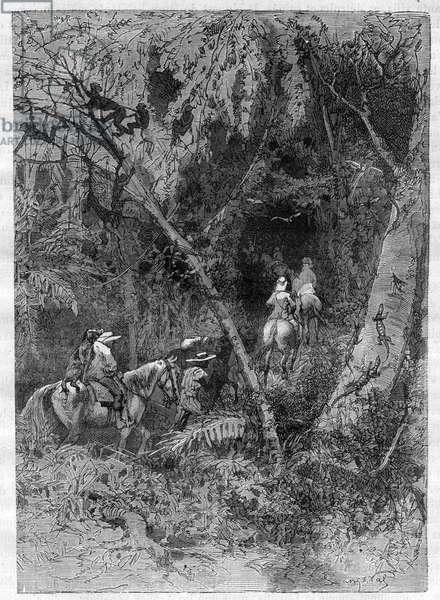"""Central African Africa Exploration by Verney Lovett Cameron (1844-1894) - engraving from """""""" Picturesque Histoire des grands voyages au nineteenth century"""""""". 1877"""