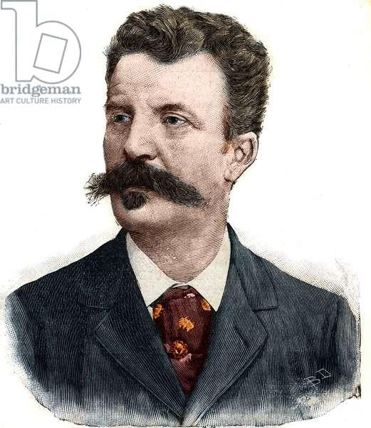"Portrait of Guy de Maupassant (1850-1893) French writer. Engraving in """" Le Peute Parisien"""", 1892. Private collection."