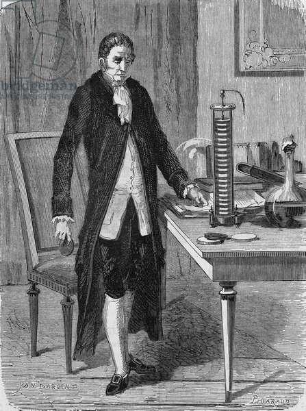 "Alexander (Alessandro) Volta built, in December 1799, the electric motor (or battery). In"" Album de la Science"""", Éditions Jouvet, 1896."