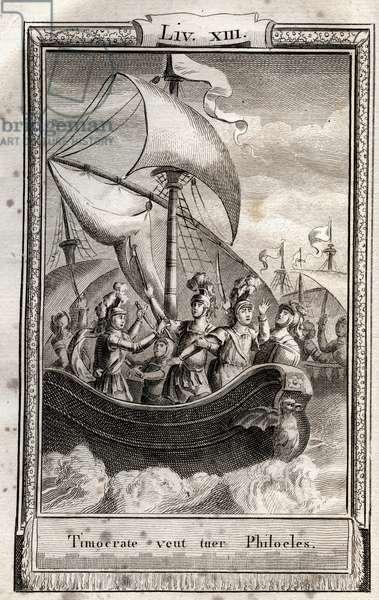 """Timocrate wants to kill Philoeles - engraving of 1798 by Monnet in """"Les Aventures de Telemaque, fils d'Ulysse"""" (The adventures of Telemachus) by Francois de Salignac de La Mothe-Fenelon dit Fenelon -"""