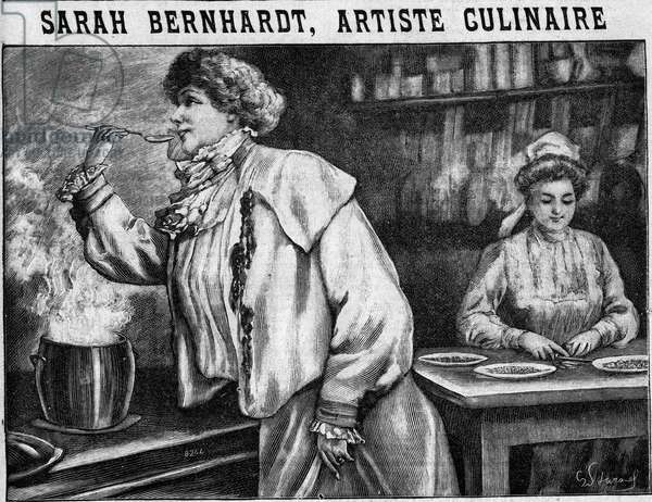 "Sarah Bernhardt, culinary artist: comedian Henriette Rosine Bernard called Sarah Bernhardt (1844-1923) tasting her favorite soup imagined by Brillat Savarin (Brillat-Savarin, 1755 -1826), French gastronome. Engraving In """" The kitchen of families"""" from 1905-1908."