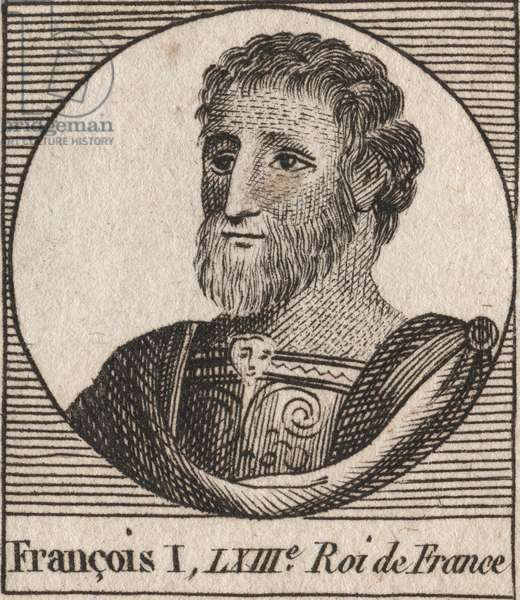 "Portrait of Francois I (1494 - 1547), King of France - Francis I, King of France - engraving from ""Instruction sur l'Histoire de France"""" by Charles Constant Le Tellier 1821"