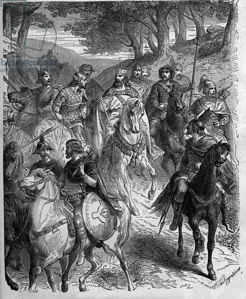 "Passage of the Alps by Charlemagne (747-814), King of the Francs. Charlemagne submits the Lombards. Engraving in """" Histoire De France En Cent Paintings by Paul Lehugeur """" 1891."